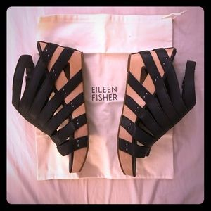 Black Leather Eileen Fisher Sandals